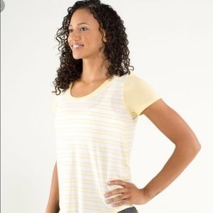 Lululemon Yellow and White Striped T shirt